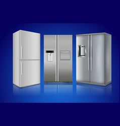 Refrigerator on blue background modern home vector