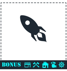 Rocket icon flat vector