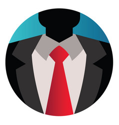 Round an avatar in suit with red tie on white vector