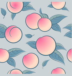 seamless pattern ripe ruddy peach or apricot leave vector image