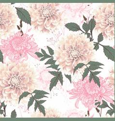 seamless pattern vintage beige dahlia vector image