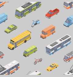 seamless pattern with motor vehicles of various vector image