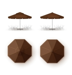 Set of Brown Patio Outdoor Cafe Bar Round Umbrella vector