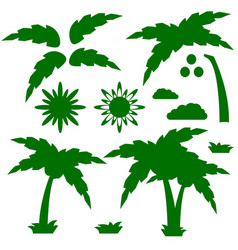 Set of silhouettes of a cartoon palm tree with vector