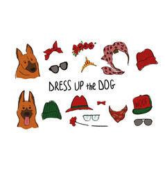 Shepherd dog couple portraits with accessories vector