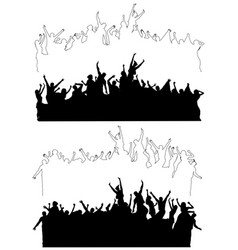 silhouettes of dancing celebrating people vector image