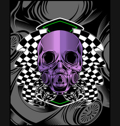 skull violet with race flag hand drawing vector image