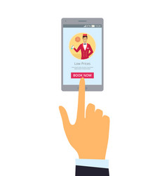 Smartphone and hand isolated vector