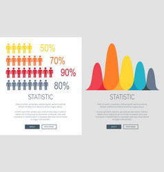 statistic presentation colorful web page design vector image
