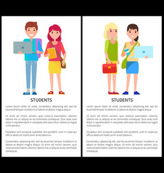 Students poster text samples vector