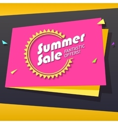 Summer sale origami banner vector