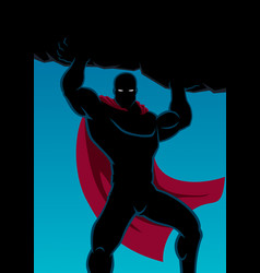 Superhero lifting boulder vector