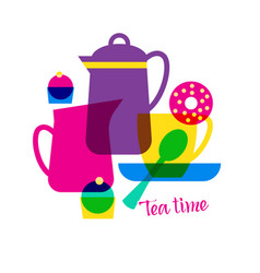 tea time with lettering vector image