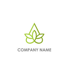 triangle green leaf flower logo vector image