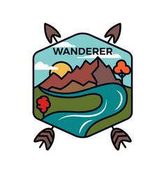 Vintage wanderer logo emblem template adventure vector
