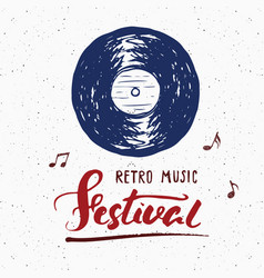 Vinyl record and lettering retro music festival vector