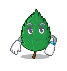 Waiting mint leaves mascot cartoon vector