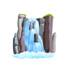 Waterfall cascade in mountains front vector