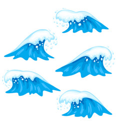 waves with sea foam vector image