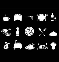 white restaurant icons set vector image