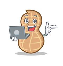 With laptop peanut character cartoon style vector