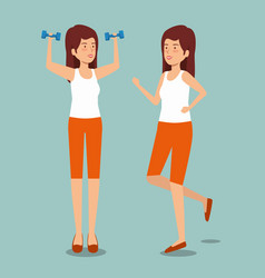 Women with dumbbells and running to health vector