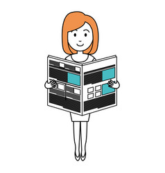 young woman reading newspaper avatar character vector image