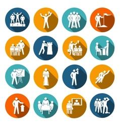 Leadership icons flat vector image vector image