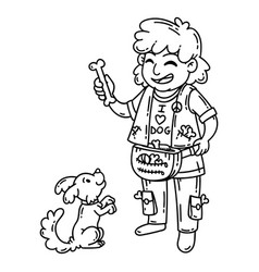 man with dog dog training vector image