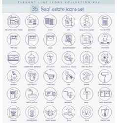 real estate outline icon set Elegant thin vector image