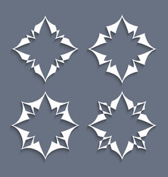 set of paper elements stylized flowers for design vector image