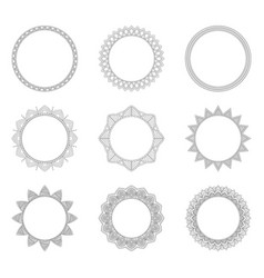 Set of round decorative frames vector