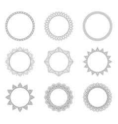 set of round decorative frames vector image