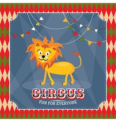 Vintage circus card with cute funny lion vector