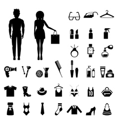 Beauty and fashion collection with silhouettes of vector image
