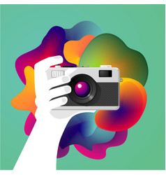 creative photo art hand is holding a camera vector image