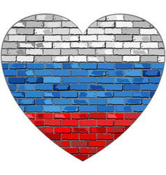 flag of russia on a brick wall in heart shape vector image