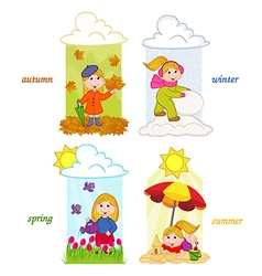girl in four seasons of year vector image