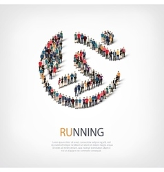 running people sign 3d vector image vector image