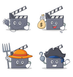 Set of movie clapper character with doctor money vector