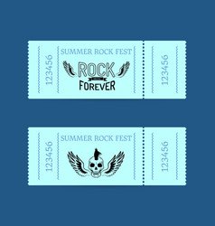 summer rock fest collection of tickets on blue vector image
