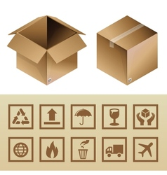 cardboard delivery box and package icons vector image vector image