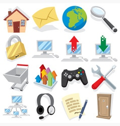 cartoon internet icons vector image