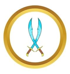 Crossed scimitars icon vector image vector image