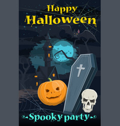 halloween greeting card of holiday night horror vector image