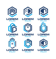 hexagonal real estate logo vector image vector image
