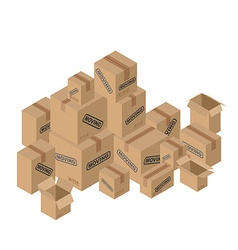 Moving many of cardboard boxes Paper packaging for vector image