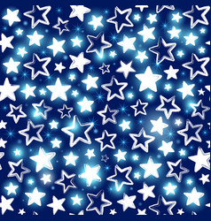 seamless pattern with shining stars on blue vector image vector image