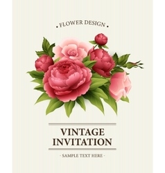 Vintage Greeting Card with Blooming peony and vector image vector image