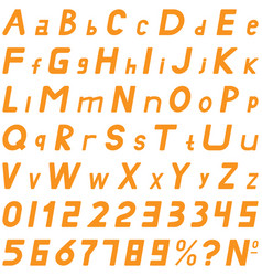 Orange fonts middle sloping style hand work for vector